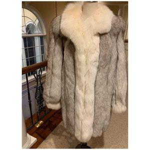 Jackets & Blazers - Genuine Real Blue Shadow Fur Coat Jacket